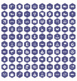 100 delivery icons hexagon purple vector image vector image