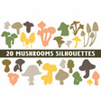20 mushrooms silhouettes various design set vector image vector image