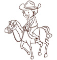 A simple drawing of a cowboy vector image vector image