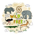 african animals and plants safari animals pattern vector image vector image