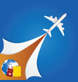 airplane with travel sign vector image vector image