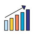 bar chart statistics arrow on white background vector image vector image