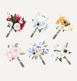 beautiful bridal bouquet collection flat style vector image