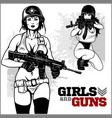 beautiful pinup girls holding a gun vector image vector image