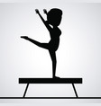 black silhouette faceless woman gymnast on balance vector image
