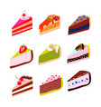 cakes and cheesecakes cartoon icon set vector image