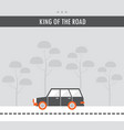 car on the road king of the road flat design vector image