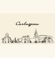 cartagena skyline colombia hand draw sketch vector image vector image