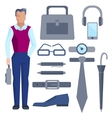 Cartoon businessman with set of office accessories vector image