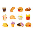 cartoon fast food collection vector image vector image