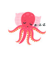 cartoon pink octopus sleeping on soft pillow vector image vector image