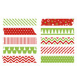 christmas washi tapes set colored scotch lines vector image vector image