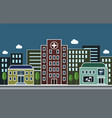 city street with a hospital pharmacy and school vector image vector image