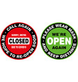 closed and open signage or door sticker vector image