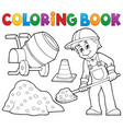 coloring book construction worker 2 vector image vector image