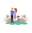 couple of parents with son sitting on chair vector image vector image