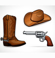 cowboy hat boots and revolver vector image
