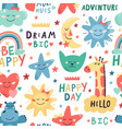 cute kids pattern seamless hand drawn cute vector image