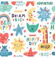 cute kids pattern seamless hand drawn vector image