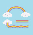cute white clouds on the light blue sky and vector image