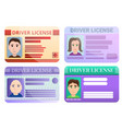driver license icons set cartoon style vector image vector image