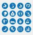 esophageal cancer and stomach pain icons blue vector image