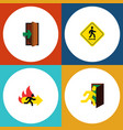 flat icon door set of direction pointer entrance vector image vector image