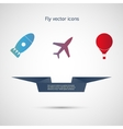 Flat icons aircraft missiles and balloon vector image vector image