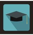 Graduation cap icon in flat style vector image vector image