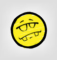 graffiti emoticon smiling face with glasses vector image