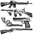 grunge gun collection vector image vector image