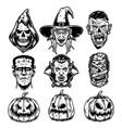 halloween characters vintage set vector image