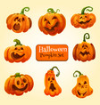halloween pumpkin lantern icon autumn holiday vector image