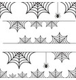 halloween set of border cobweb with spider vector image vector image
