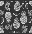 hand drawn sketch style pineapple seamless vector image vector image