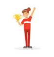 happy athletes girl in red sports uniform holding vector image vector image