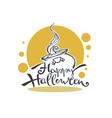 happy halloween logo with witch couldron and vector image vector image