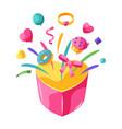 happy valentine day box with splashes vector image