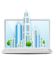 Icon Modern City on Laptop vector image