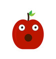 isolated surprised apple emote vector image vector image