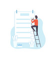 man climbing ladder filling to do list planner vector image vector image
