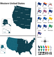 Map of Western United States vector image vector image