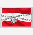 metal chain and padlock with flag repub vector image vector image