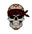 mexican sugar skull in bandana design element vector image vector image