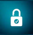 open padlock and check mark security check lock vector image