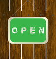 Open sign hanging on a wooden fence vector image vector image