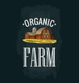 organic farm lettering engraving vintage vector image