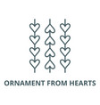 ornament from hearts line icon linear vector image