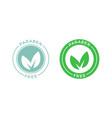 paraben free green leaf label vector image vector image