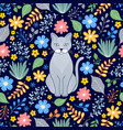 pattern with cat and flowers vector image vector image